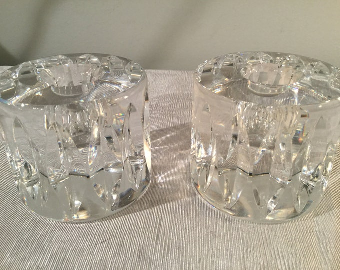 Ca. 1960s signed Orrefors Candle Holders
