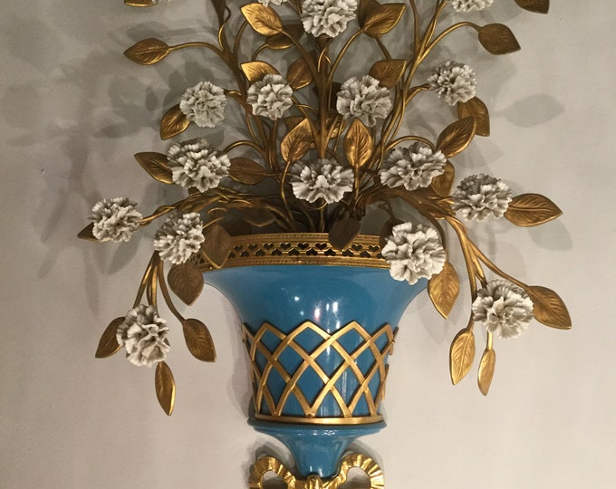 Ca. 1830s Bronze 22K Gold Plated Ceramic Flowers Sconce with French Blue Tole