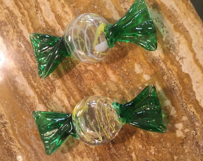 Large Pair of Murano Mouth-blown Glass Candy