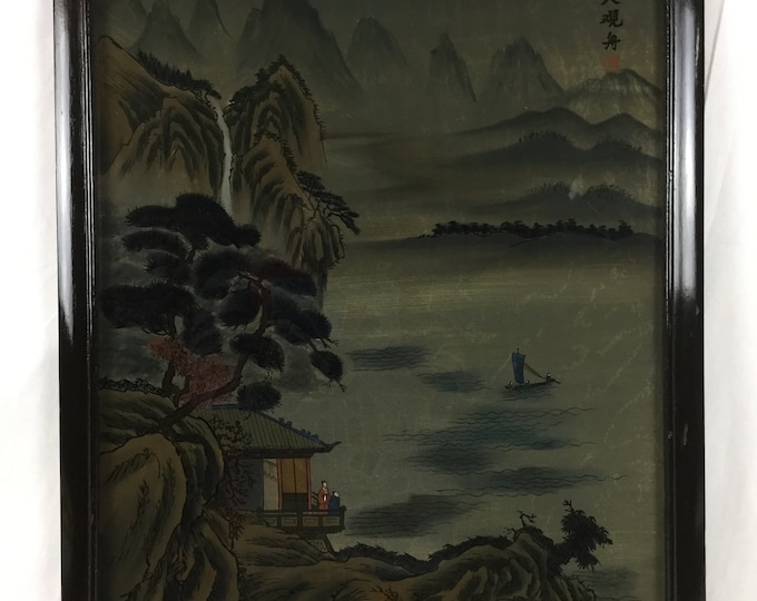 Late Qing Dynasty Chinese Reverse Painted on Glass of A Country Scene Living