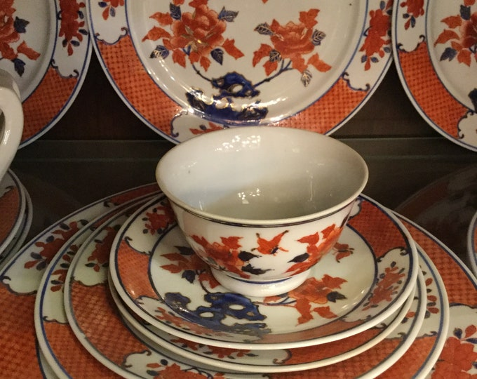 "Mark Yang Chen ""Goat City"" GuongZhu Late 19th Century Chinese Imari service for 12 with Service Plates"