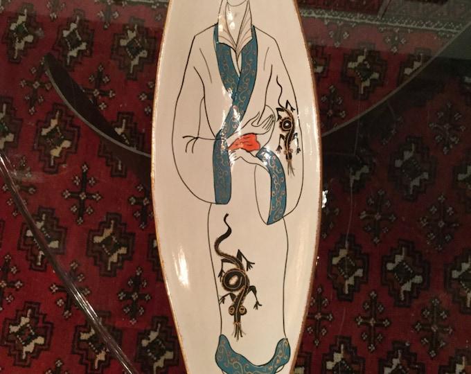 Hand painted, Custom and Rare Triguba Ceramics Center Bowl
