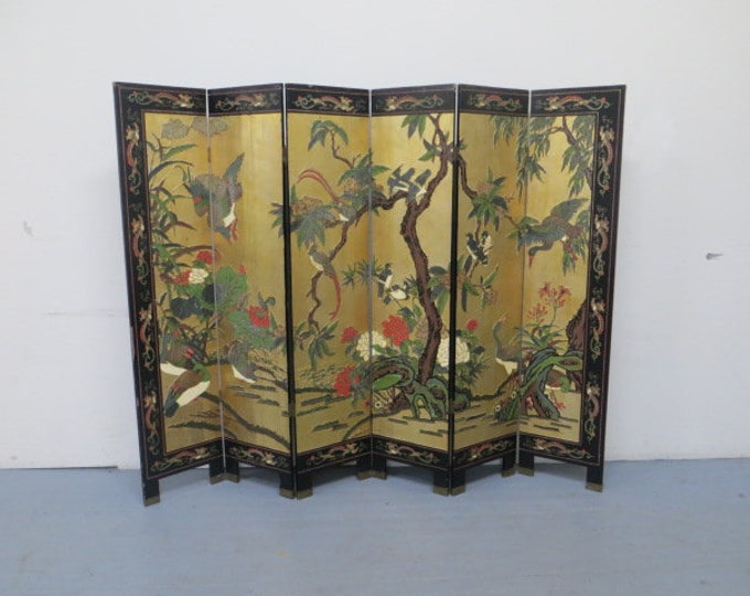 A Late 19th-Early 20th Century 6 panel Chinese Coromandel Screen Handcarved and HandPainted with 22K Gold Leaf Background