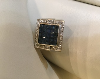 Art Deco Style Princess Cut Sapphire and Vs Diamond Ring Channel set