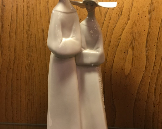 SOLD: Lladro Ceramic Nuns in Wimple Garb