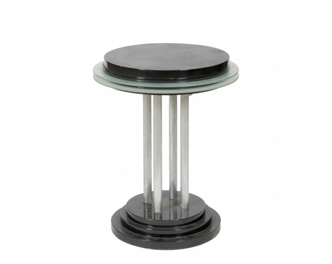 SOLD: Ca.1930s Art Deco Lacquered Steal, Glass Side Table