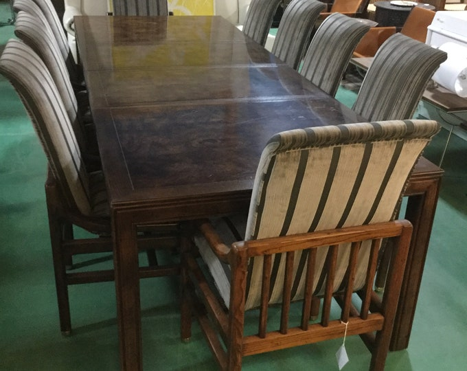 Ca. 1970s Henredon Dining Set in Solid Walnut Parquetry top on Dining table with 2 leaves with 2 Arm and 8 Side Chairs Reupholstered in Silk