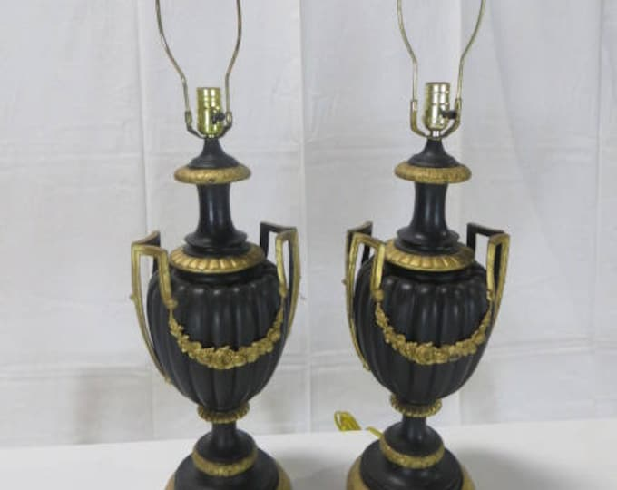 French Late 19th c.  Blackened Bronze Pair of Lamps with Gilded Ormolu