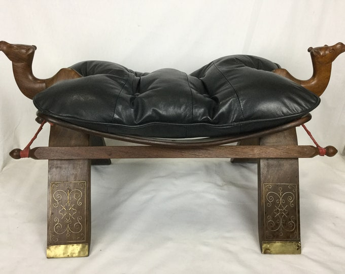 Ca. 1940s Camel Stools by M Hayat And Brothers Peshawar Pakistan in Sheesham Rosewood with Black Tufted Leather