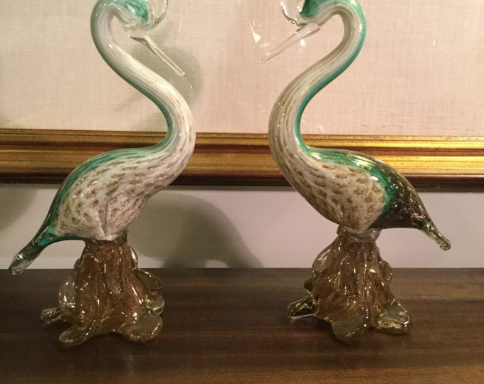 Ca. 1950s Pair of Gorgeous Murano Gold Infused Birds by Alfredo Barbini