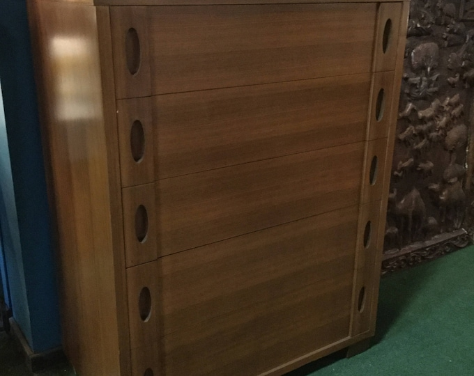 SOLD: 1940s Phenix Furniture Co. (1872-1953) Rare Walnut Chest Bottom Drawer lined Cedar and top drawer with jewelry case with Mirror