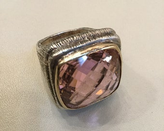 Pink Tourmaline Large Stone Set in Hammered Silver and Gold