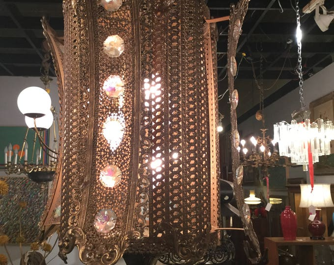 Ca. 1960s Brass Filligree Design chandelier with Colored Crystals made in Spain