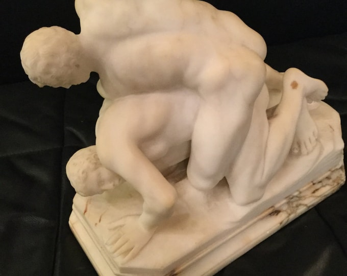 Ca. 1890s Italian Marble Study of Roman Wrestlers after Antonio Frilli