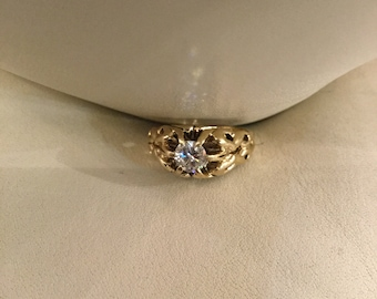 Round Rose Cut Victorian Engagement Ring Aprox 1 carat in 14K Gold  Prong Setting