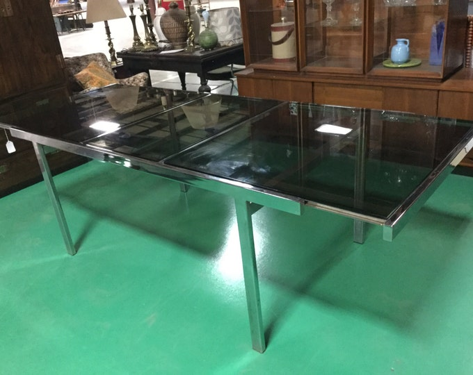 SOLD: Milo Baughman Mid Century Chrome and Smoked Glass Dining Table