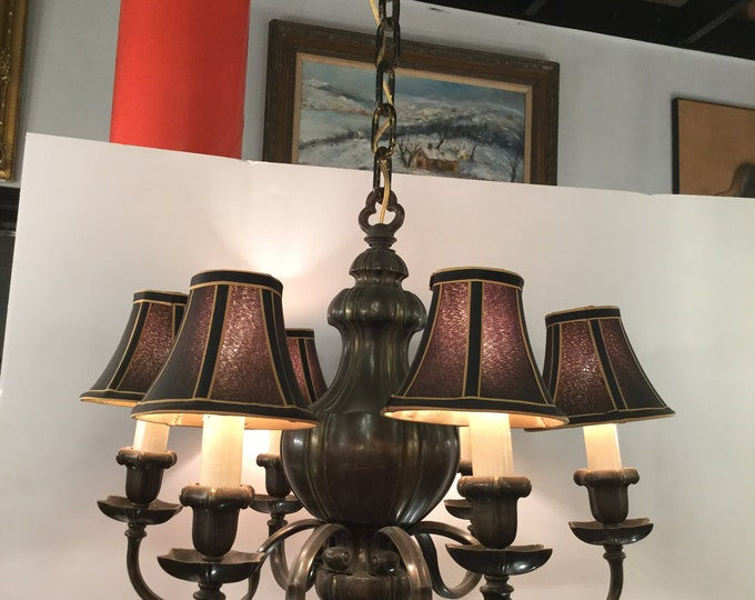 Early 19th Century (1820) French Solid Bronze Mazarin all original (except silk shades) Patinated 6 Light Chandelier