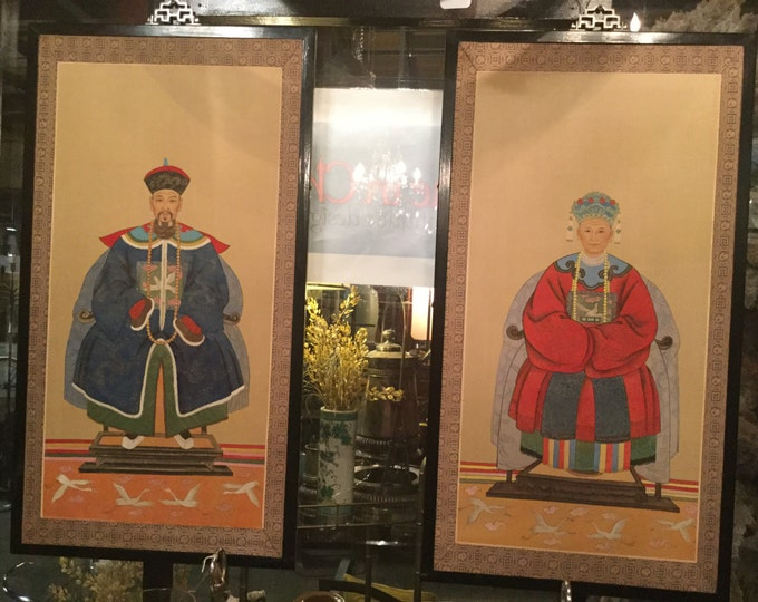 Early 20th century Fine Art Pair of Chinese Ancestral Portraits in Watercolor on Silk