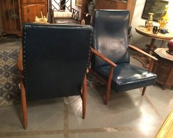 SOLD: Mid Century Walnut Lounge Chairs Milo Baughman for Thayer Coggin