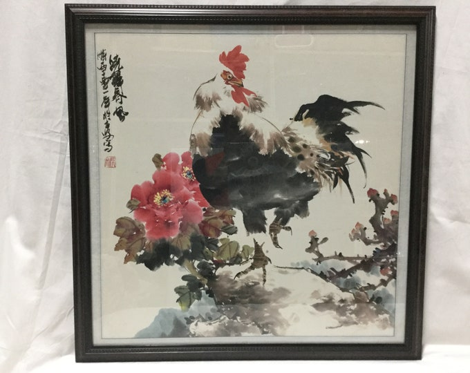 Shang Yang 20th c. Ink and Color n Paper Of Rooster and Peonies