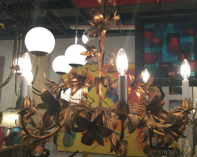 SOLD: Ca. 1940s French Gilt Tole Chandelier with Lily Gilded Flowers with rope twist base