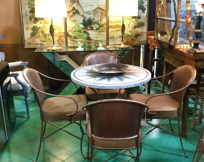 Ca. 1960s Iron and Marble Cafe Indoor/outdoor Cafe Set with Four chairs Reupholstered in Saddle Brown Naugahyde Ostrich, Italy