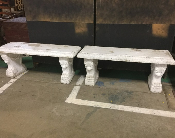Pair of Painted Cement Benches