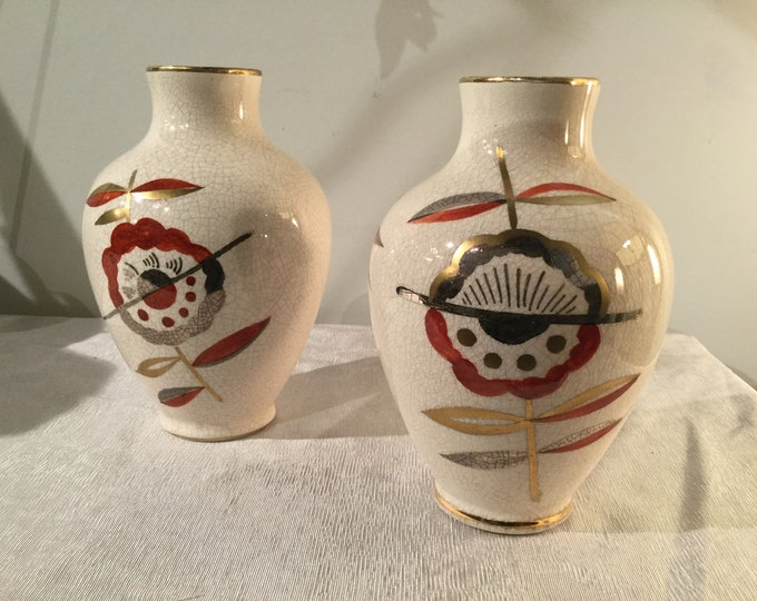 Ca.1930s Pair of Vases Sainte Radegonde Touraine, France