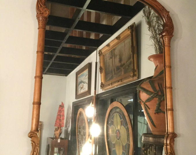 Ca. 1890s Hand Carved Mahogany Mirror Chippendale Style