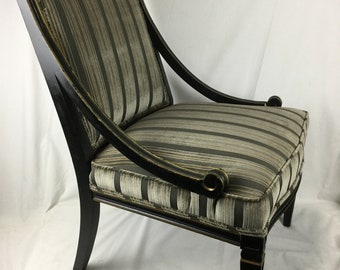 Late 19th. Century Chippendale Chinoiserie Side Chair Reupholstered in Italian Silk And Cotton Cut Velvet