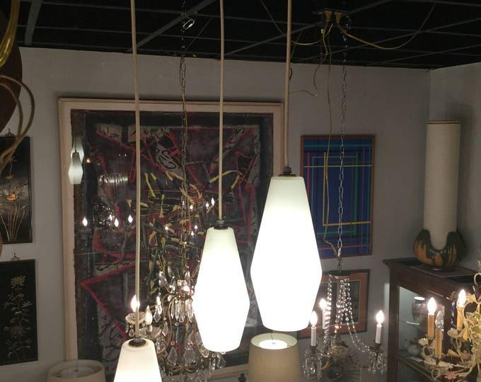 SOLD - - -Mid Century Stillnovo 3 Light with Opaline Shades Pendant