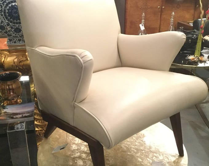 Mid Century Re-Upholstered in Top Grain Creamy White Leather Karpen Lounge Chair