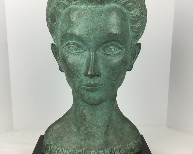 Natalia Forgash Monumental Bronze Sculpture of a Woman on A black Granite Base made in Bronze Foundry Roman Bronze Works  NY