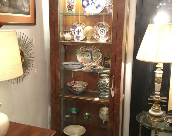 Ca 1970s Pair of Baker Furniture Collector's Curio Cabinet in Yew Burlwood