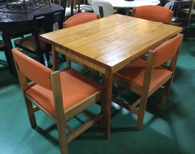 Mid Century Solid White Oak chairs and Maple Butcher Block top