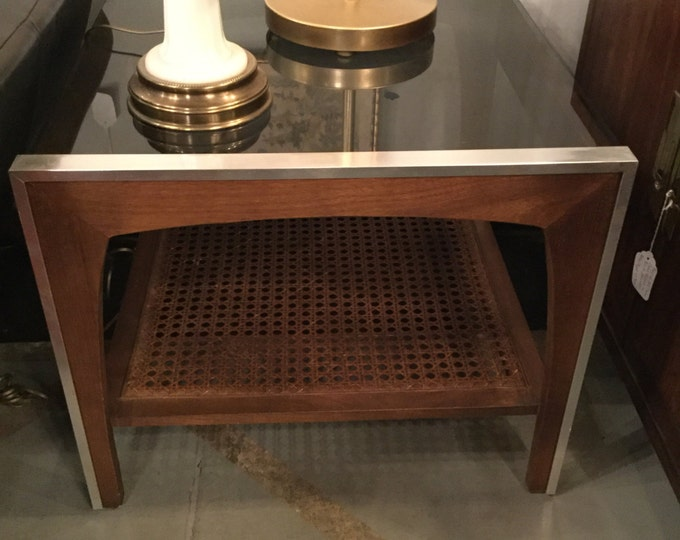 SOLD: Pair of Mid Century Mahogany with Caning End Tables with Smoked Glass and Chrome