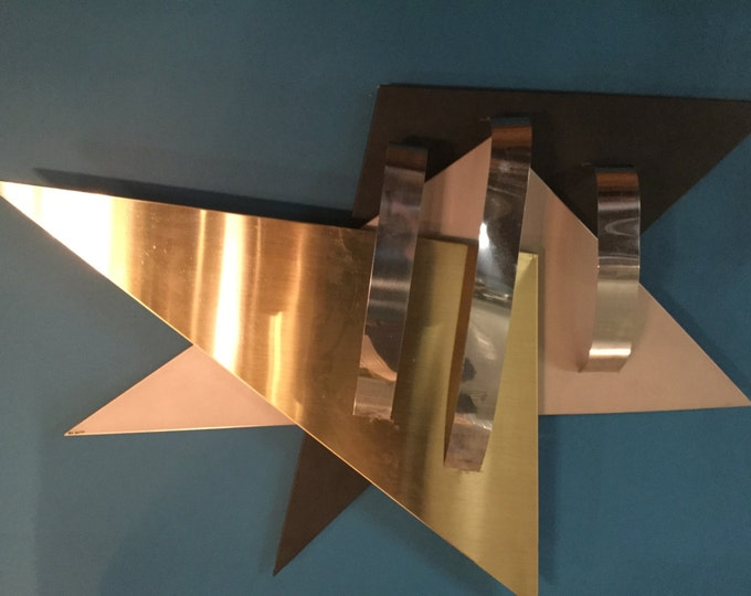 Curtis Jere Chrome Brass and Black Wall Sculpture