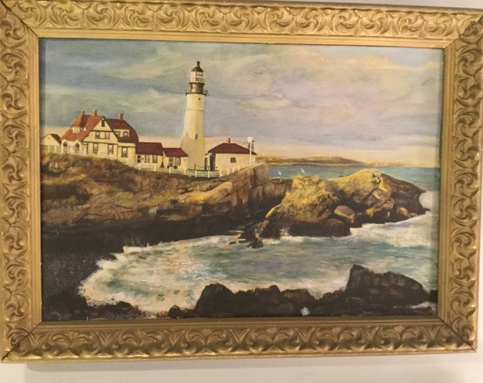 Signed Richard Burt 1933 of Maine Light House Oil on Canvas