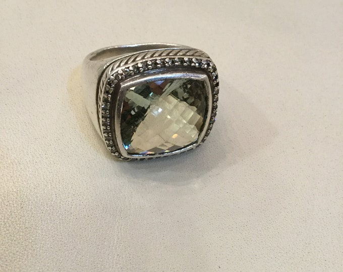 David Yurman 7.5 size Prasolite And VS Diamond Ring