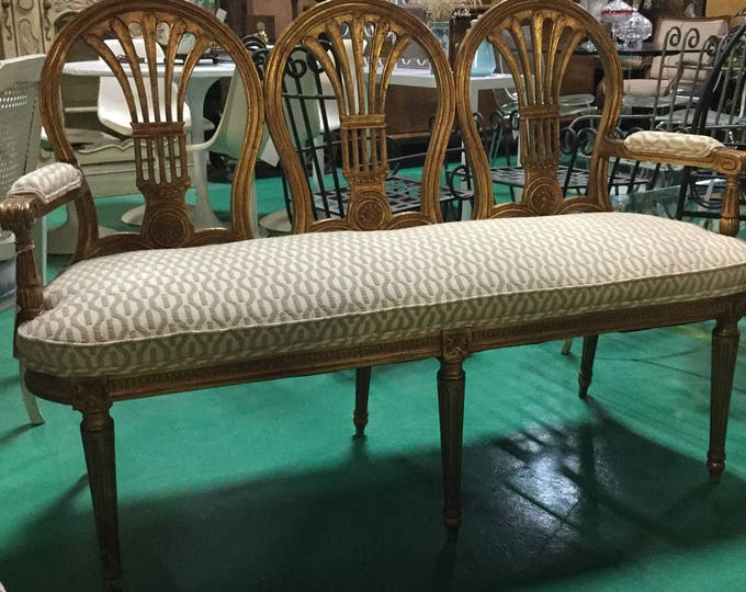 Ca. 1900s French Gilt Wheatback Bench Reupholstered in Loomed Chennile