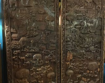 SOLD: Ca.1900s Hand Carved Northern India Wall Panels or for Doors or Room Divider