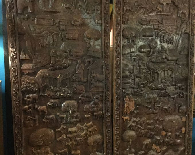 Ca.1900s Hand Carved Northern India Wall Panels or for Doors or Room Divider