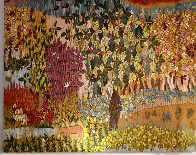 Monumental ca. 1890-1910 Austrian Art Neuveau hand knotted Nature Scenic Tapestry