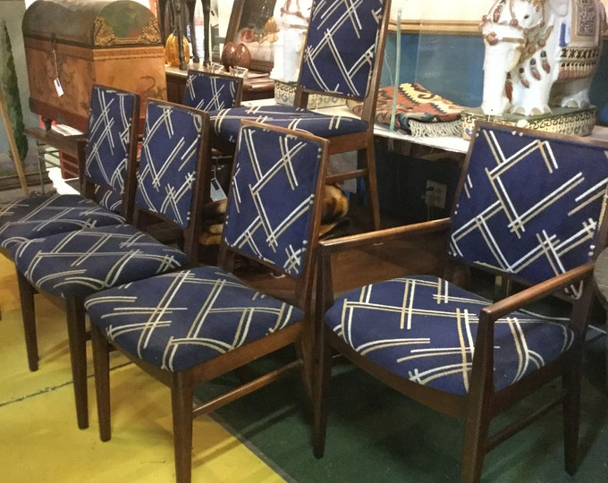 Set of Six 2 Arm Chairs 4 Side Chairs Original John Stuart Dining Chairs in Sheesham Rosewood made in Grand Rapids MI Midcentury