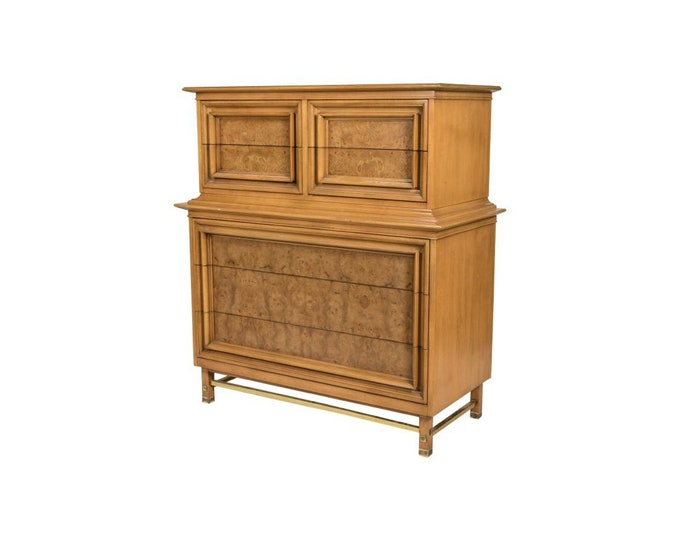 Ca. 1965 High Chest in Fuitwood with burl Walnut front drawers with Brass Stretcher Legs