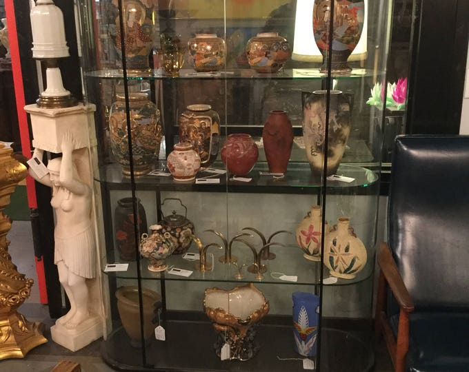 Ca. 1970s FIAM ,Italy convexed Glass Pair of Curio Cabinets