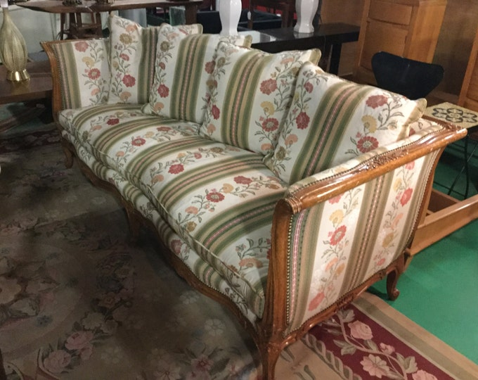 Hand Carved Fruitwood French Sleigh Style Upholstered in Lee Joffa Fabric