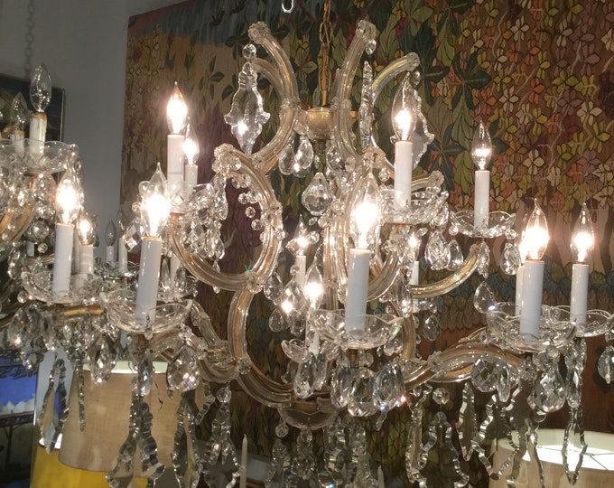 Ca.1900s Monumental  Maria Therese Italian Chandelier Large Hand Cut crystals with 16 Lights  Bobeche with Crystals