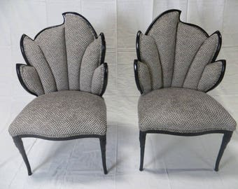 Ca. 1920s Art Deco Restored Custom Black Lacquered Finish Fan Back Chairs in Cut Velvet Silk and Cotton Blend by Lee Joffa