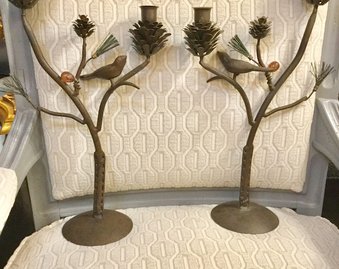 Mid-Century Iron Chinnoisserie Style Birds and Pine Cones Candle holders